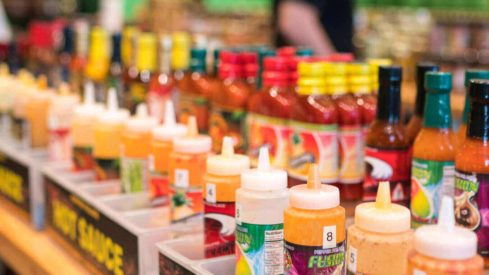 image showing bottles of hot sauce