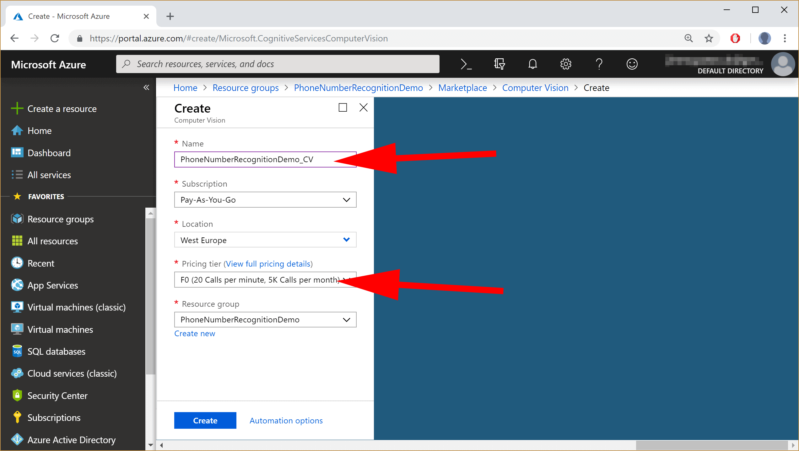 image showing the selection of the free tier in Azure Portal