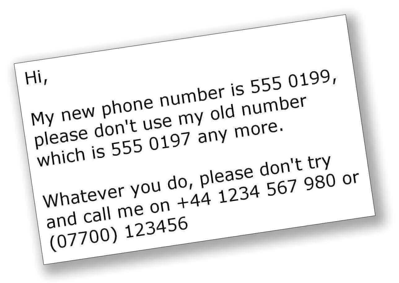 image showing typed phone number testing text