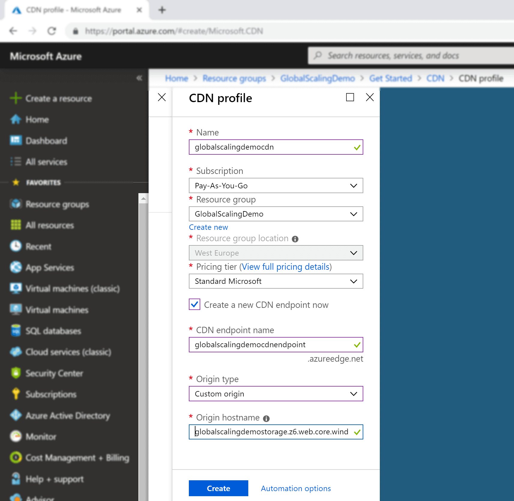 image showing azure CDN creation