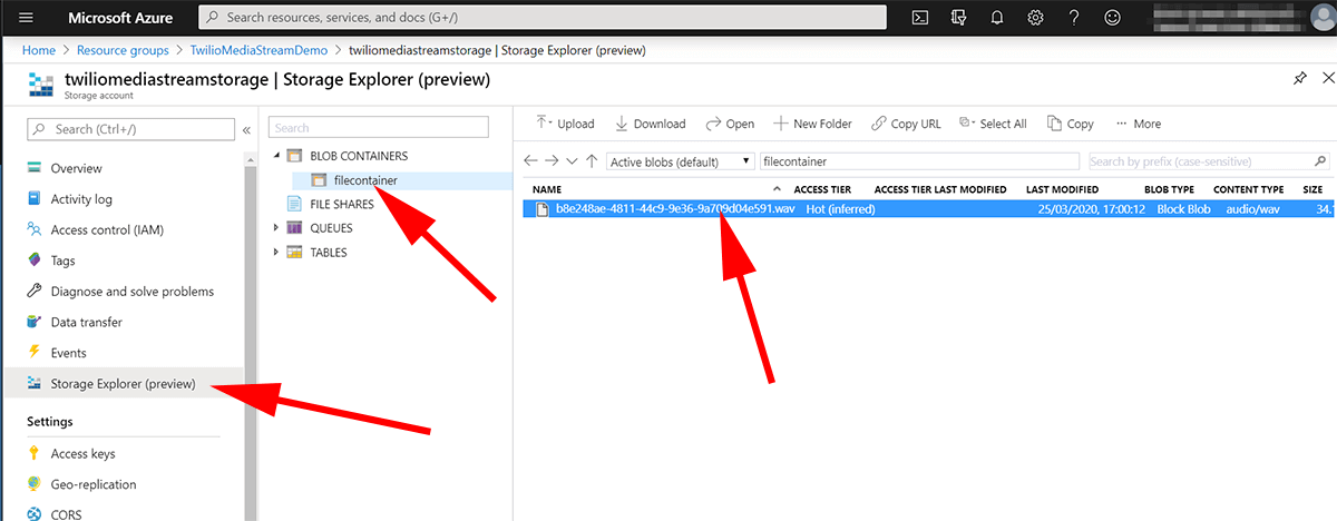 screenshot showing azure storage explorer