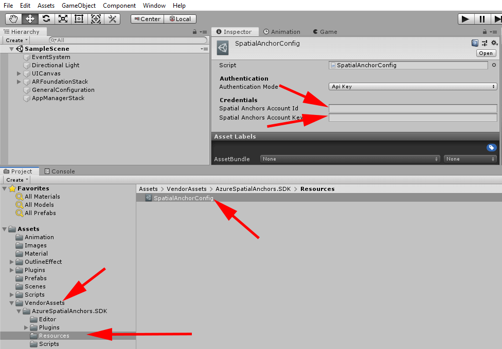 screenshot showing adding asa credentials to unity spatial anchor config object