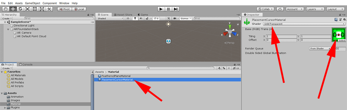 screenshot showing creating cursor material