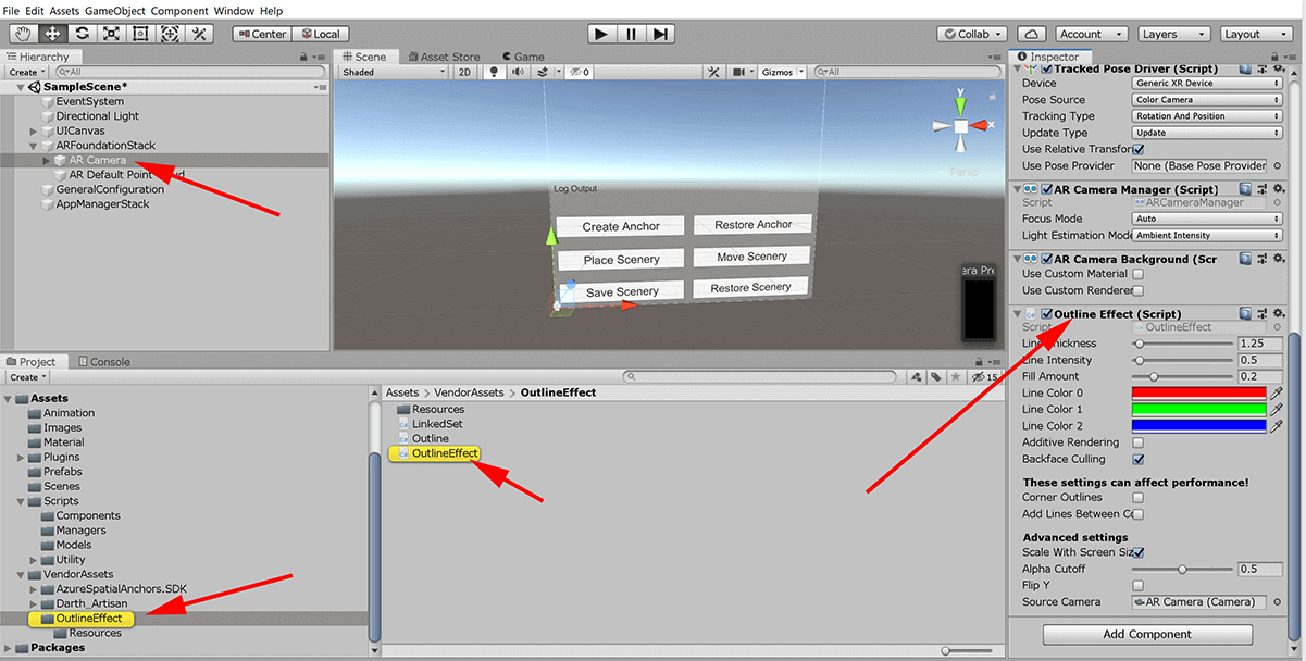 screenshot of setting up outline component