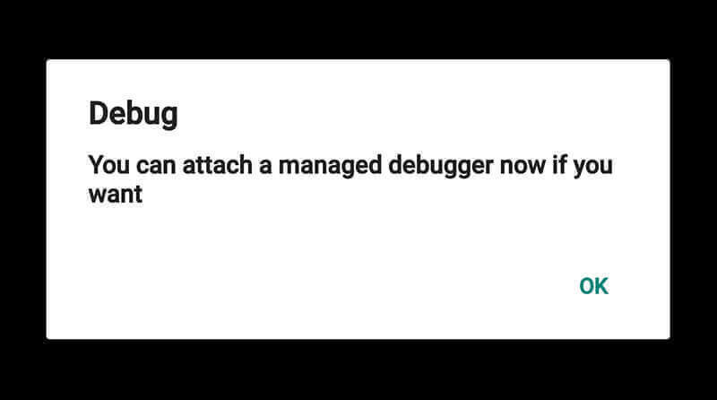 screenshot device waiting to  attach debugger