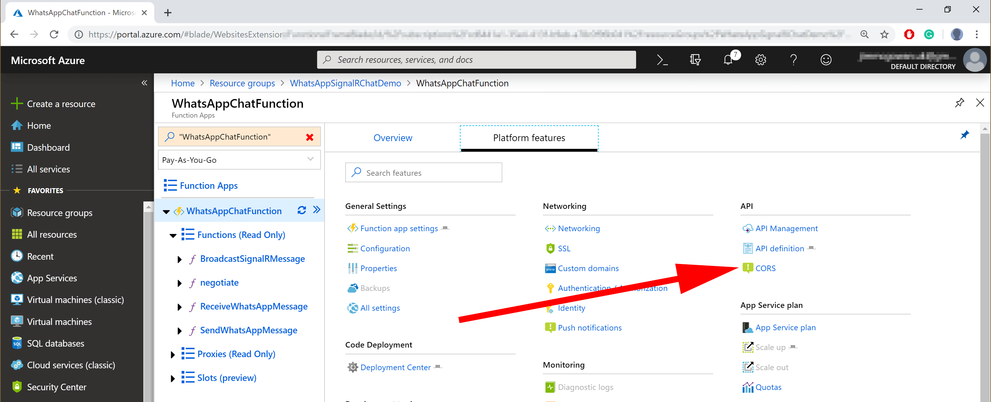 image showing azure function cors selector