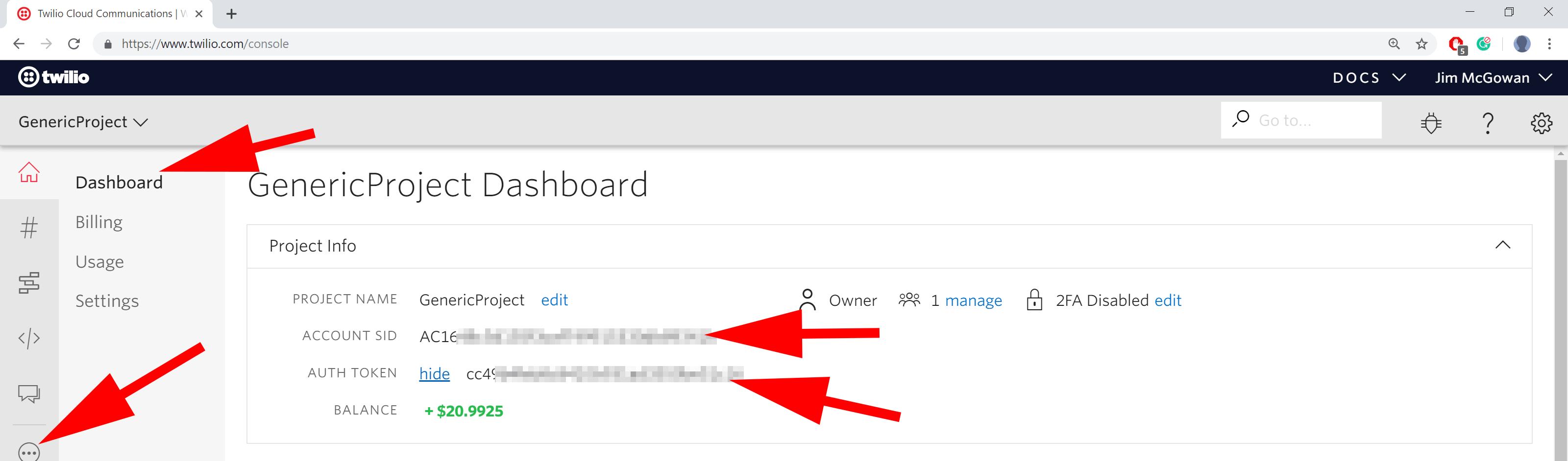 screenshot showing twilio dashboard