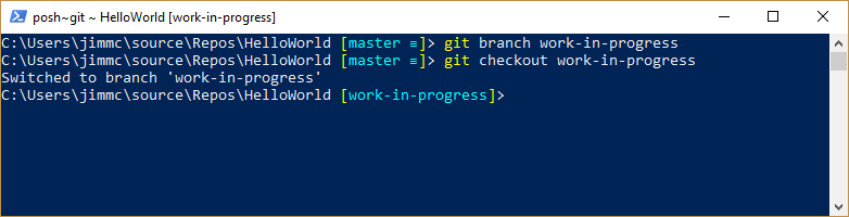 image showing Git branch create and checkout