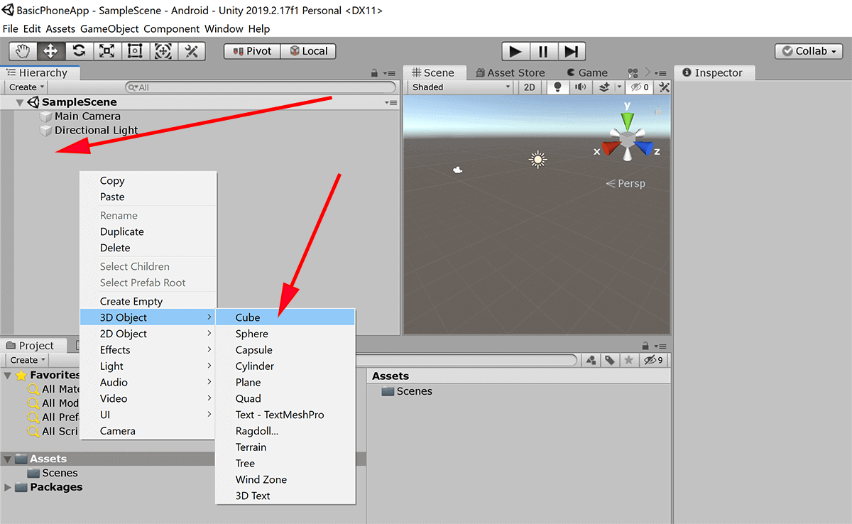 screenshot of Unity adding a cube