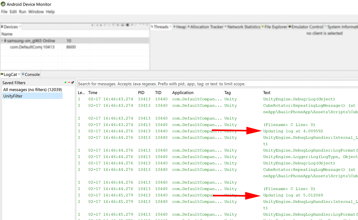 screenshot showing logcat being filtered