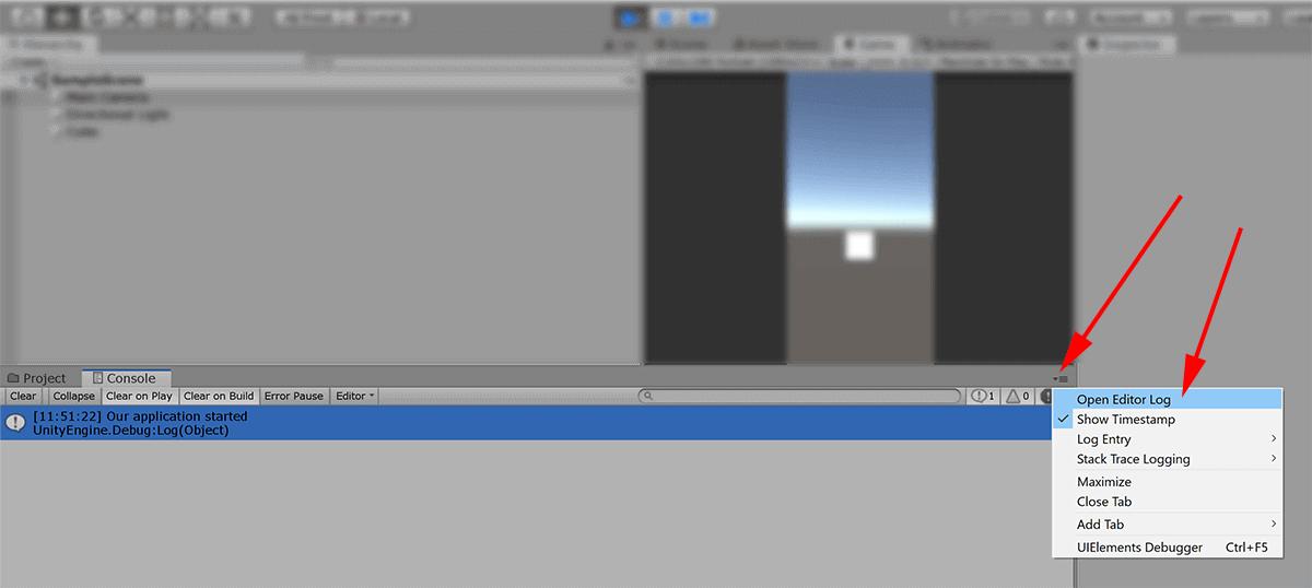 screenshot unity editor showing shortcut to editor log file