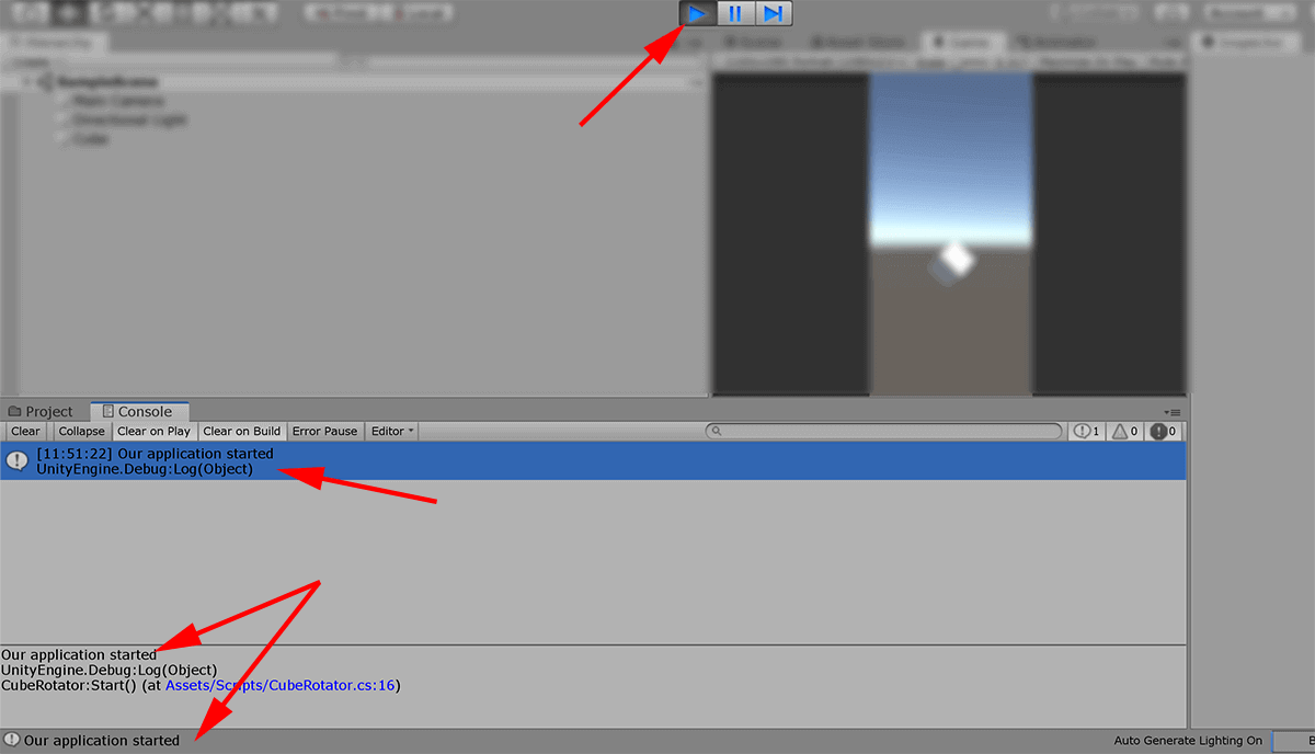 screenshot unity editor showing logging output