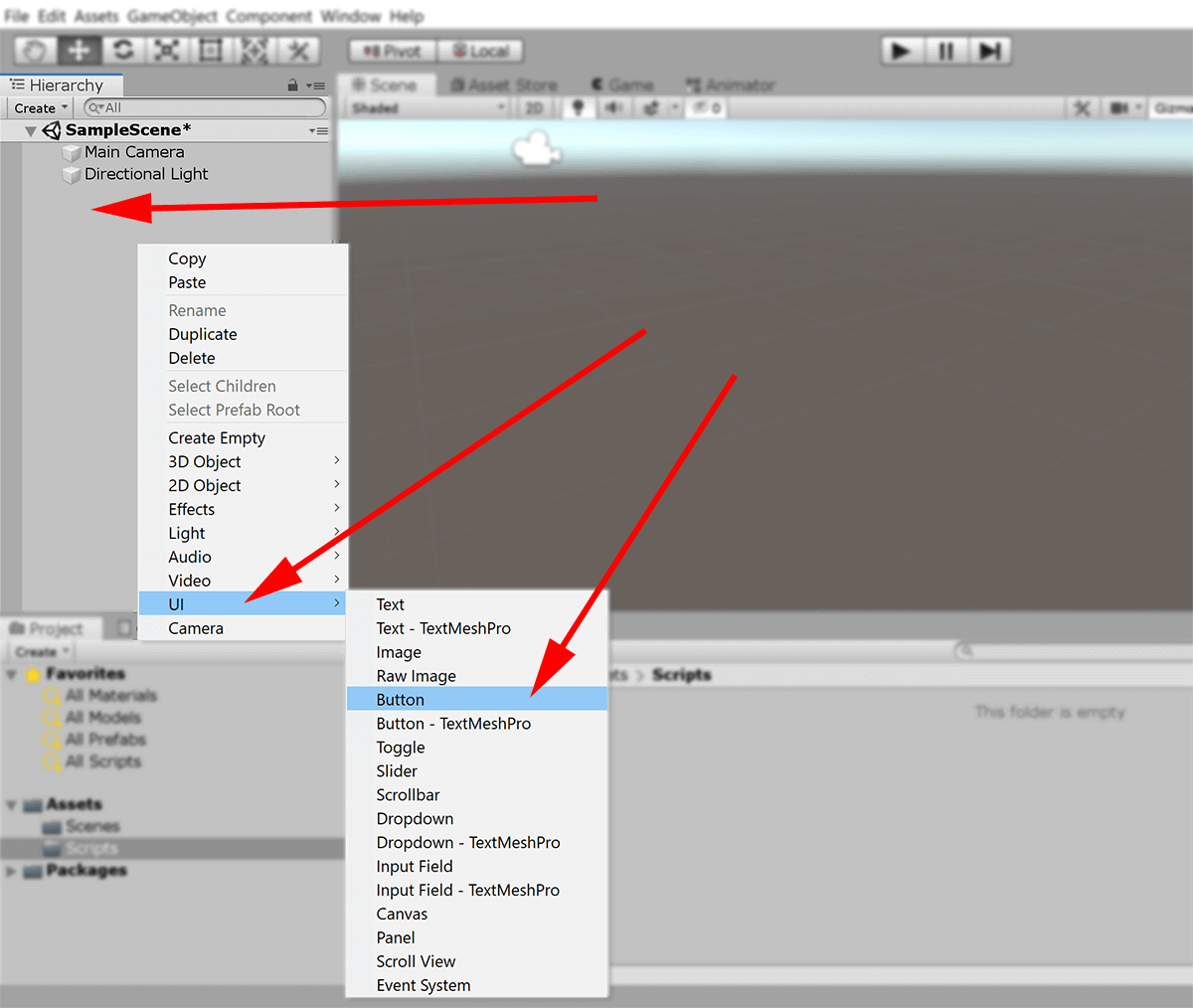 screenshot unity UI adding button