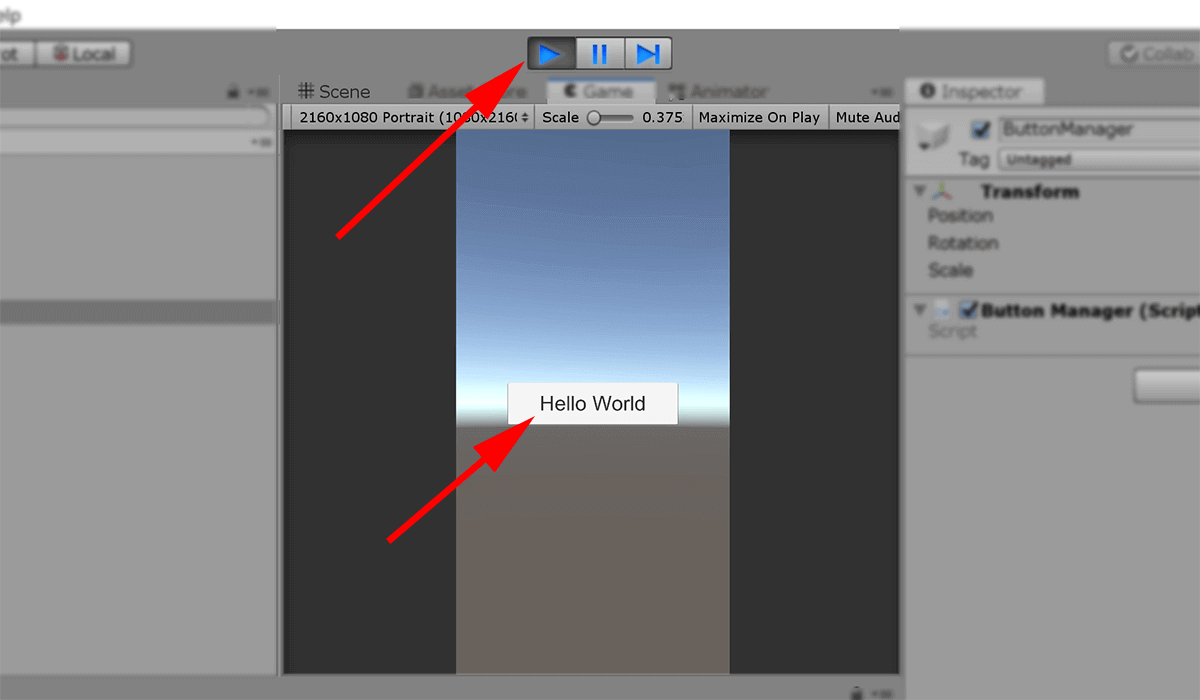 screenshot button showing hello world