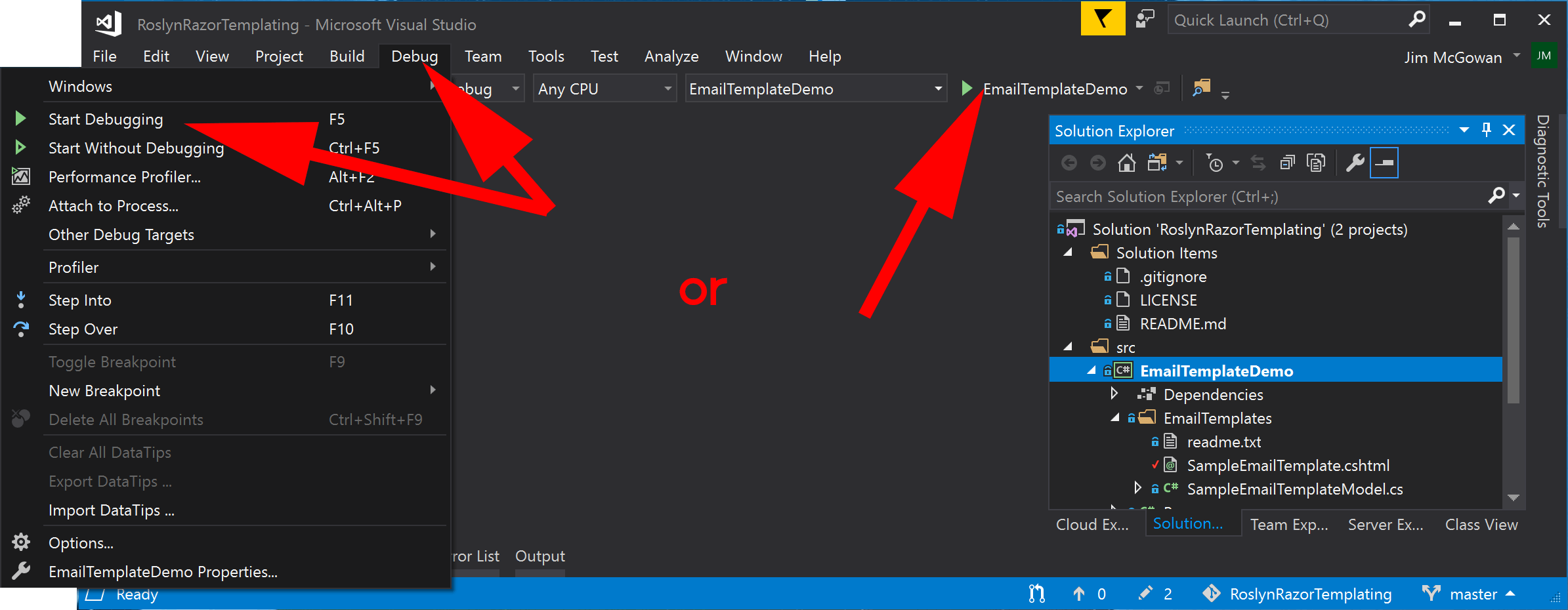 image showing how to start debugger