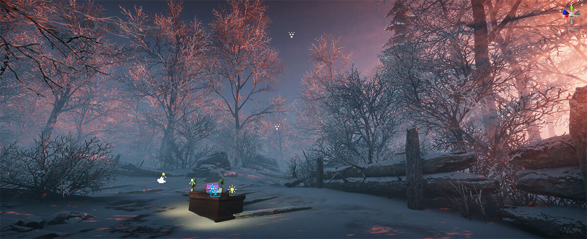unity winter scene set back